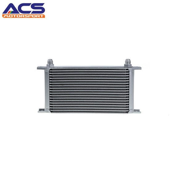 19 ROW Universal Aluminum Engine Transmission Oil Cooler Silver